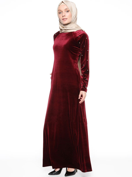 Milanoo Maxi Abaya Dress Long Sleeve Round Neck Beaded Velour Kaftan Dress