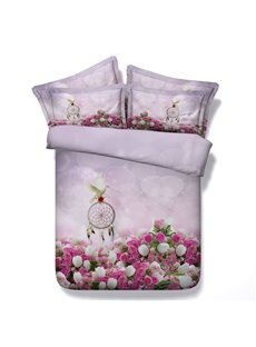 3D Pink Rose and Dream Catcher Printed 4-Piece Bedding Sets/Duvet Covers