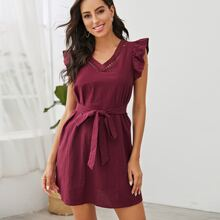 Ruffle Armhole Lace Insert Belted Dress