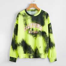 Drop Shoulder Slogan Graphic Tie Dye Pullover