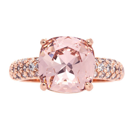 Sparkle Allure 14k Rose Gold Over Brass Pink Crystal Cocktail Ring Made With Swarovski Elements, 7 , No Color Family