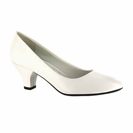 Easy Street Womens Fabulous Pumps Cone Heel, 6 1/2 Medium, White