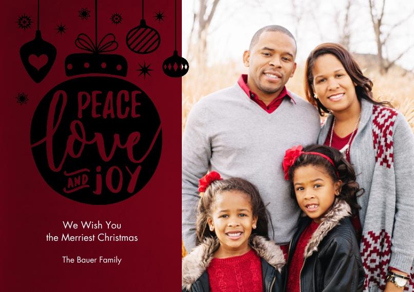 Christmas Photo Cards Set of 20, Premium 5x7 Foil Card, Card & Stationery -Peace Love Joy Ornaments