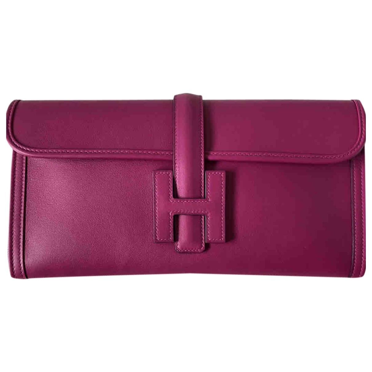 Hermès Jige Pink Leather Clutch bag for Women \N