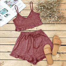 Space Dye Frill Trim Crop Cami Top & Shorts