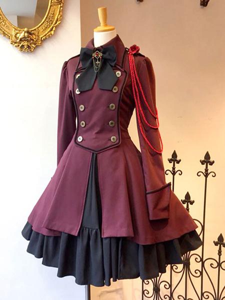 Milanoo Gothic Lolita Tea Party Dress Long Sleeve Overcoat Lolita Dress