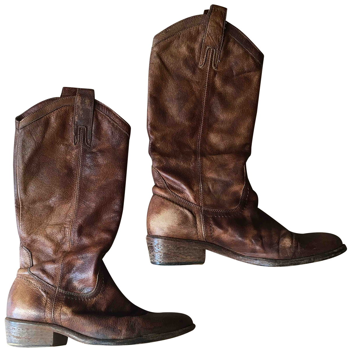 Non Signé / Unsigned Hippie Chic Brown Leather Boots for Women 39 IT