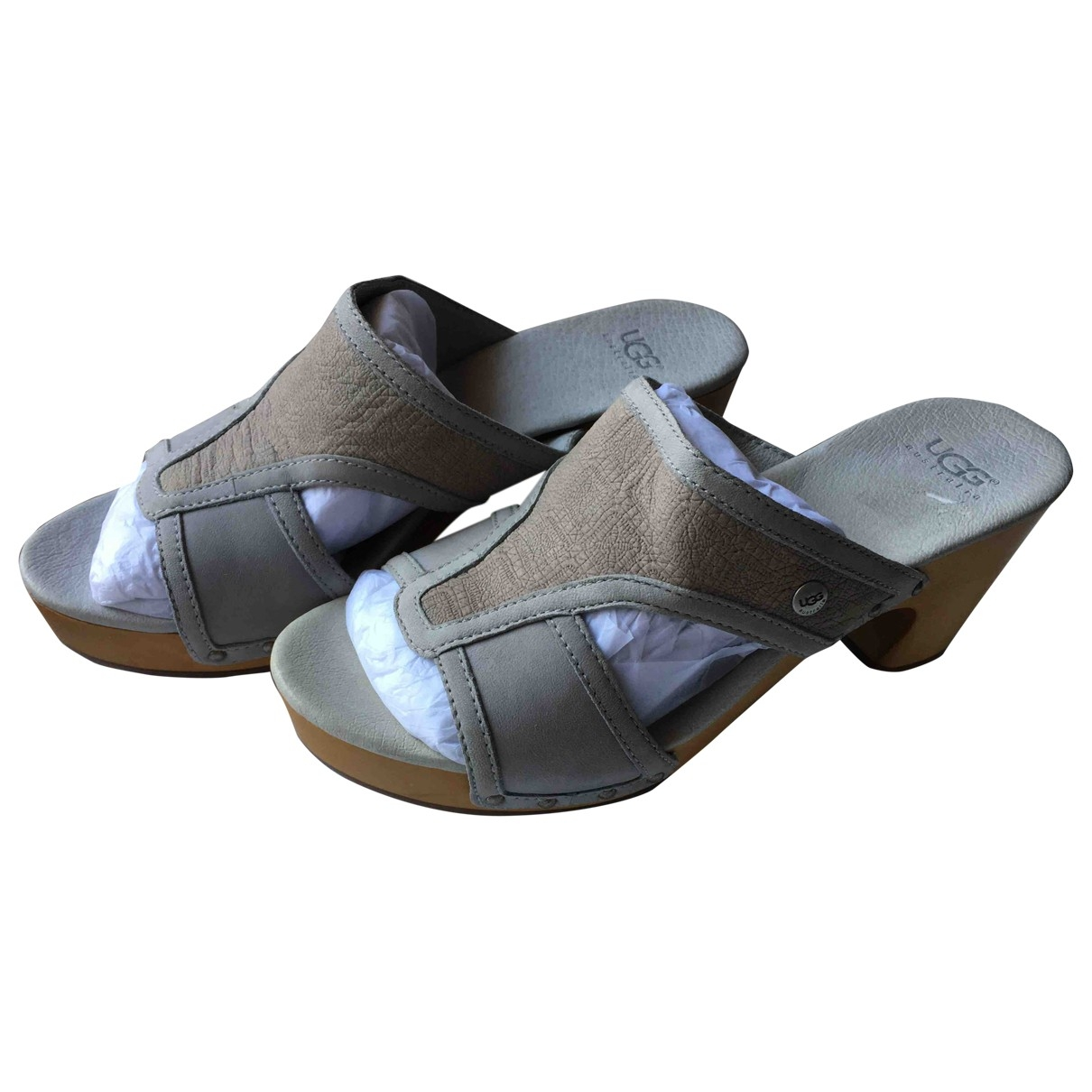Ugg \N Grey Leather Mules & Clogs for Women 7 US