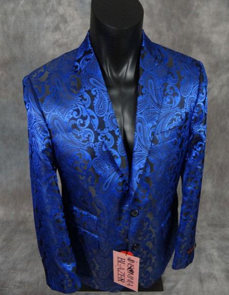 mens floral paisley blue slim fit sport jacket Blazer