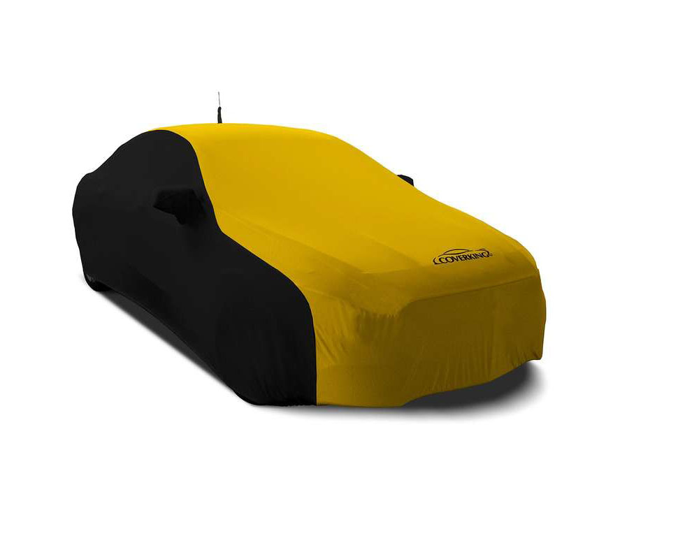 Coverking CVC3SS299VW9757 CVC3SS299 Satin Stretch 2-Tone Black Sides Velocity Yellow Center Custom Car Cover Volkswagen Passat 2020+