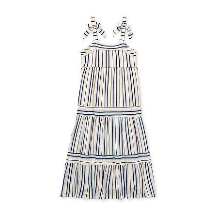 Lilt Little & Big Girls Sleeveless Striped Maxi Dress, Medium (10-12) , Blue