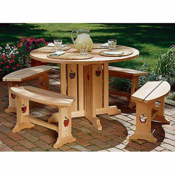 Woodworking Project Paper Plan to Build Apple Patio Table & Benches