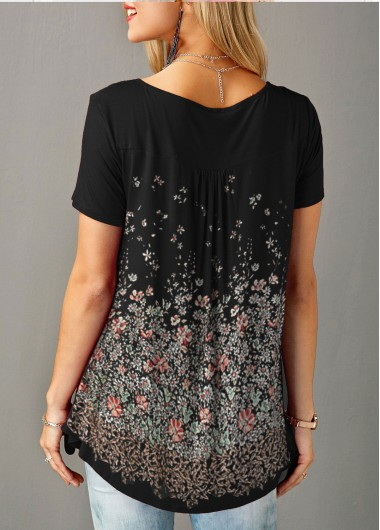 Rosewe Women T Shirt Black Floral Printing Button Front Tunic - XL