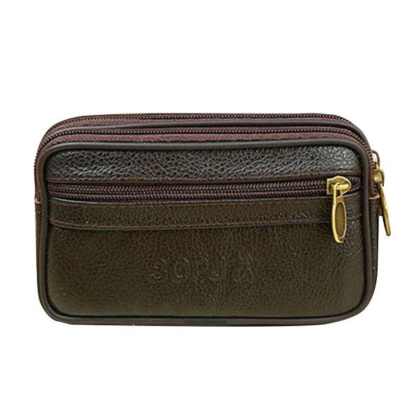 Genuine Leather Vintage Cellphone Waist Bag Crossbody Bag For Men