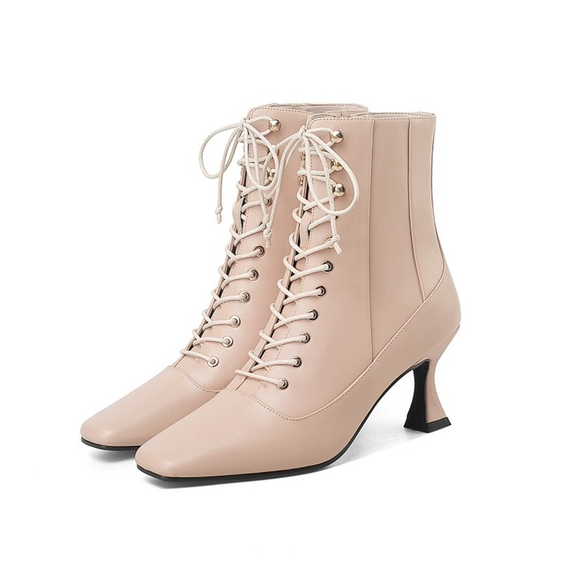 Ericdress Side Zipper Patchwork Horse-Shoe Heel Lace-Up Boots