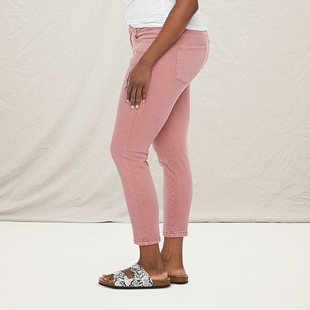 a.n.a - Petite Womens Skinny Ankle Jean, 14 Petite , Pink