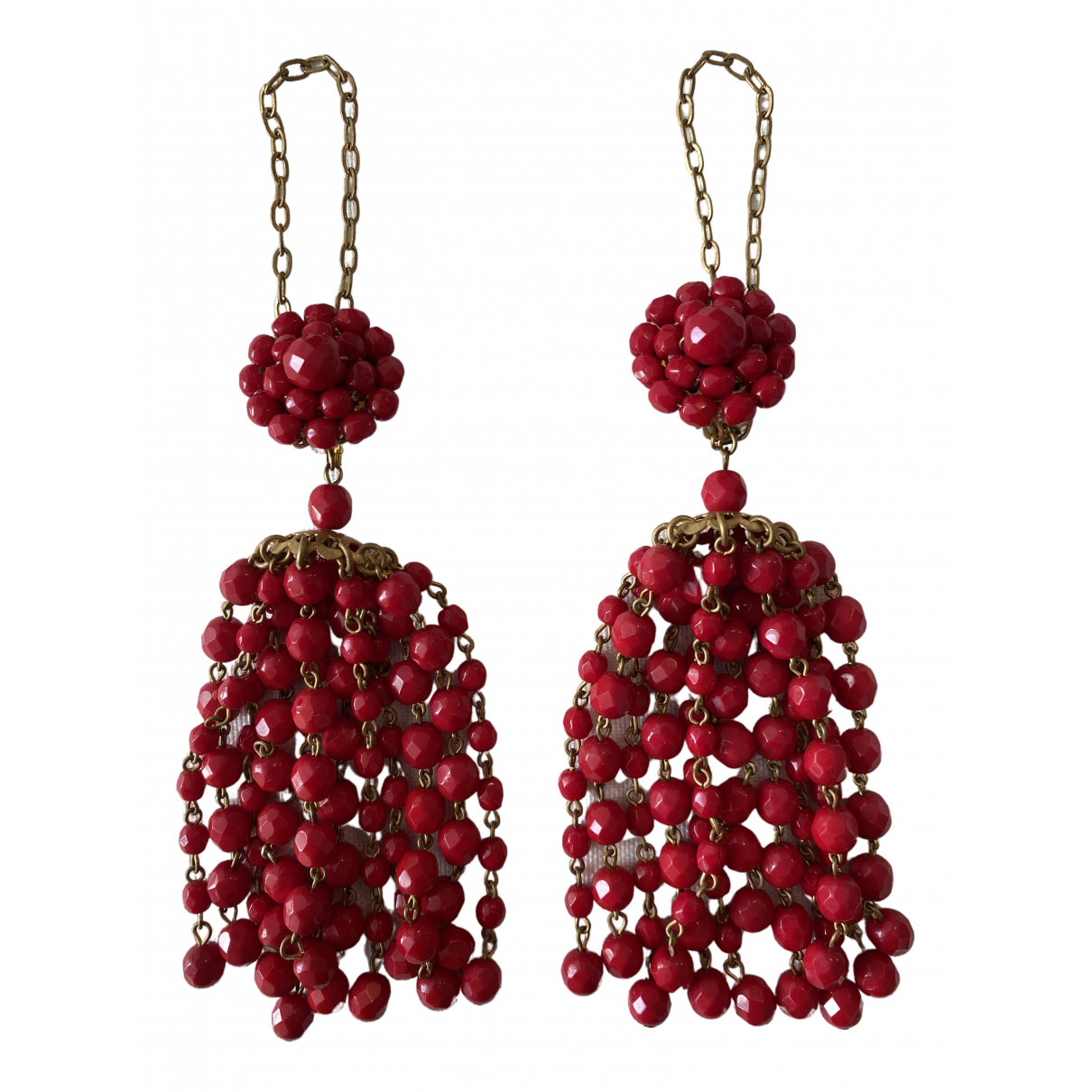Non Signé / Unsigned \N Red Pearls Earrings for Women \N