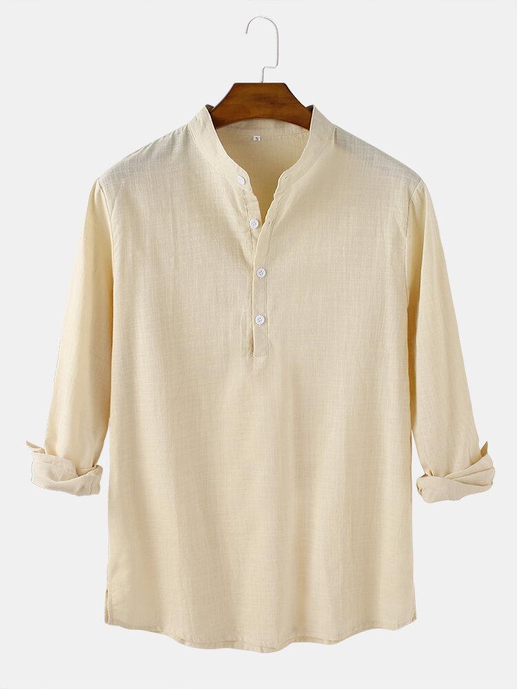 Mens Solid Color Cotton Linen Casual Long Sleeve Split Hem Henley Shirts