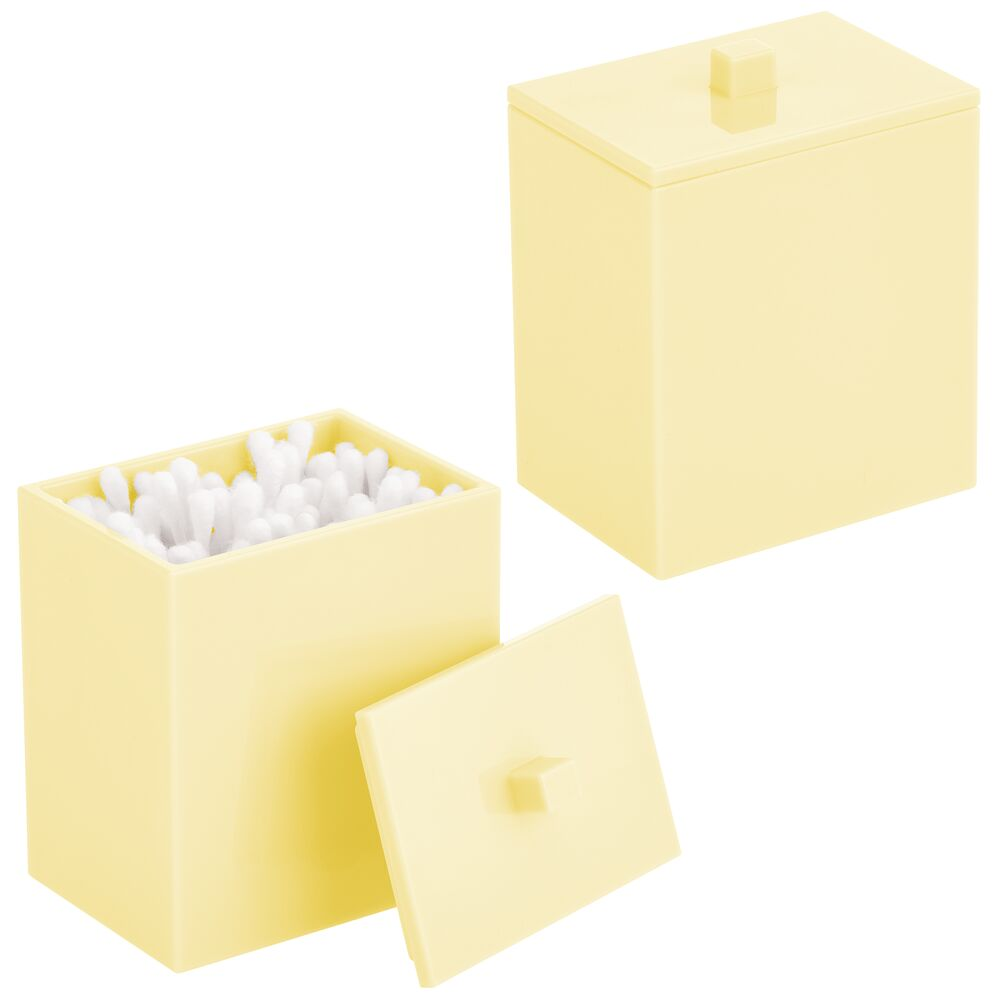 Rectangular Plastic Bathroom Vanity Storage Canister Jar in Light Yellow, 2.5