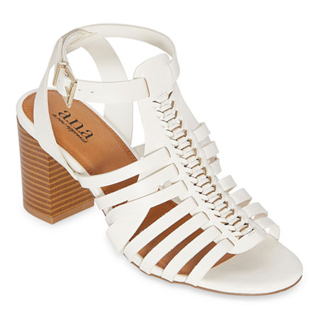 a.n.a Womens Slithery Heeled Sandals, 9 1/2 Medium, White