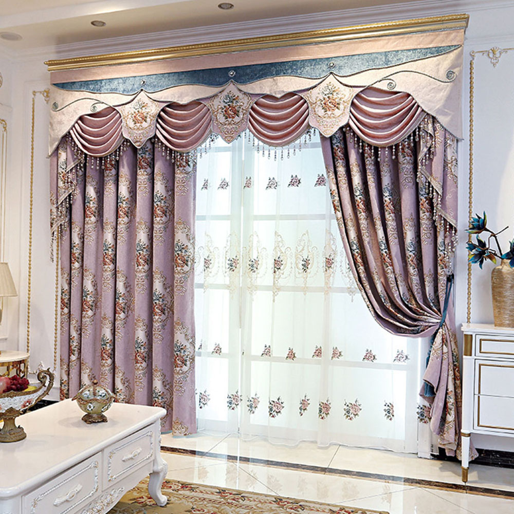 Decorative Floral Embroidered Sheer Curtains for Living Room Custom 2 Panels Breathable Drapes No Pilling No Fading No off-lining
