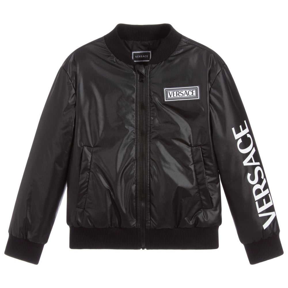 Versace Young Versace Bomber Jacket Colour: BLACK, Size: 14 YEARS