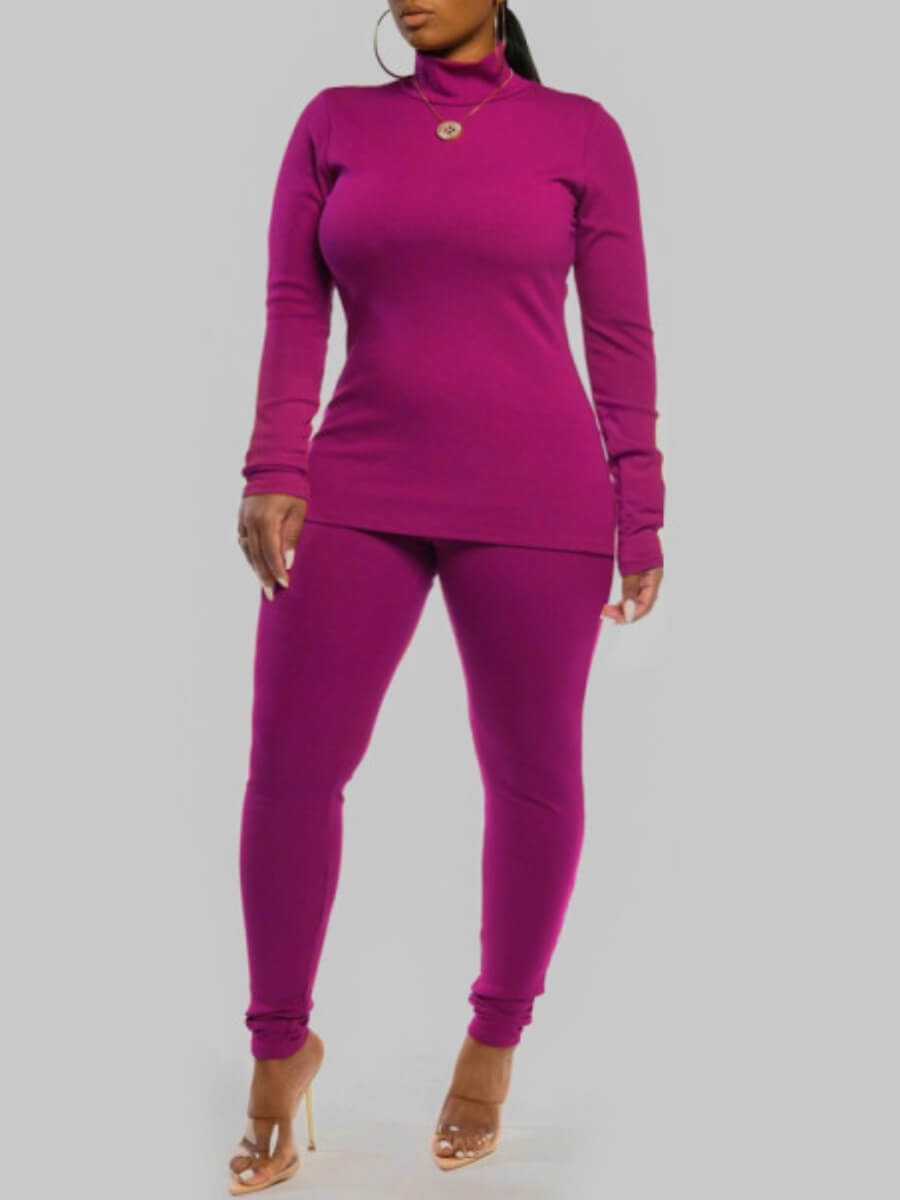 LW Lovely Casual Turtleneck Long Sleeve Rose Red Plus Size Two-piece Pants Set