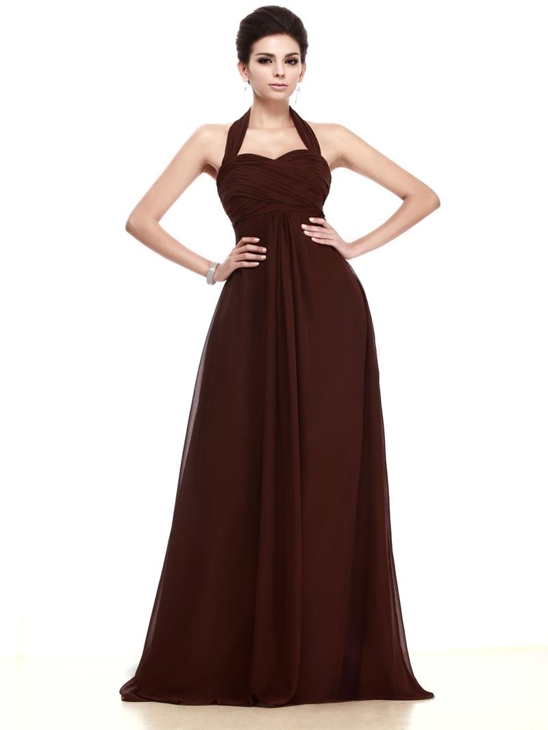 Ericdress A-Line Halter Chiffon Long Bridesmaid Dress
