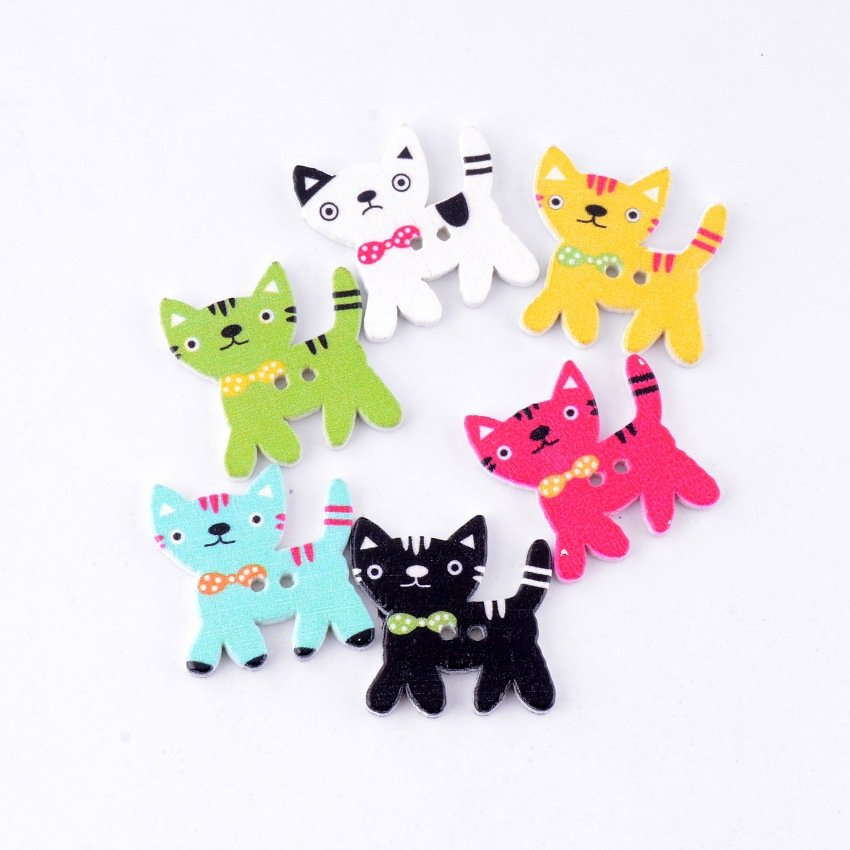 2 Holes Pattern Cartoons Cat Animals Wood Sewing Buttons Scrapbooking 24x24mm