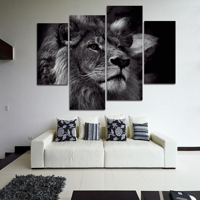 Hand Painted Four Combination Decorative Paintings Lion Head Wall Art For Home Decoration