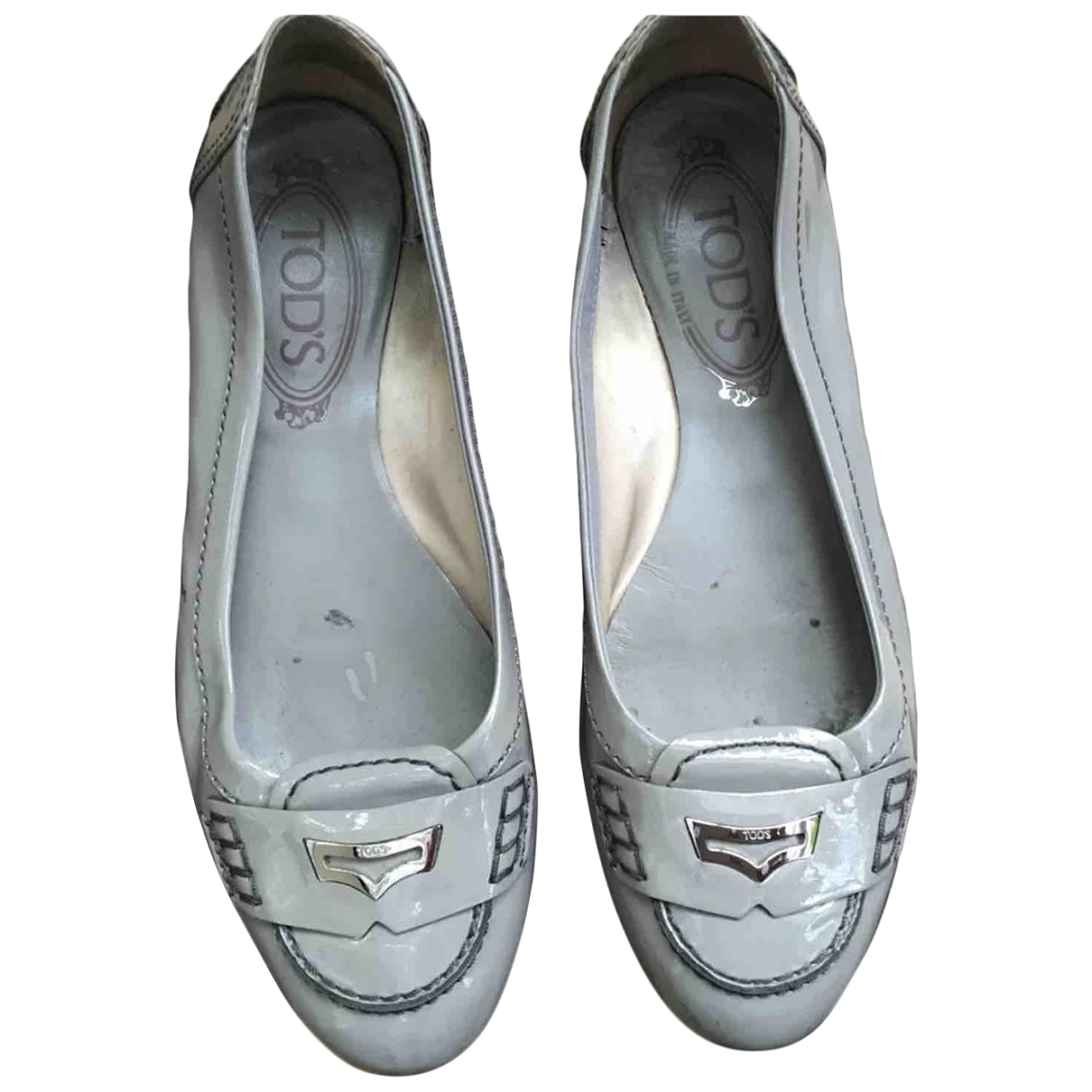 Tod's \N Grey Patent leather Flats for Women 36.5 EU