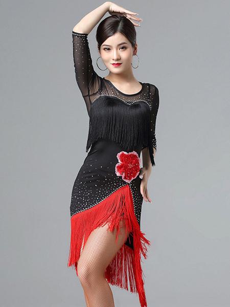 Milanoo Latin Dance Dresses Fringe Flower Bead Semi Sheer Dress Women Dancing Costume