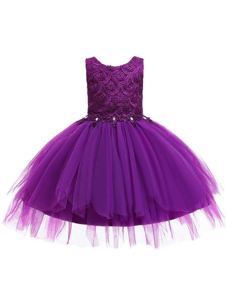 Milanoo Flower Girl Dresses Jewel Neck Sleeveless Bows Formal Kids Pageant Dresses
