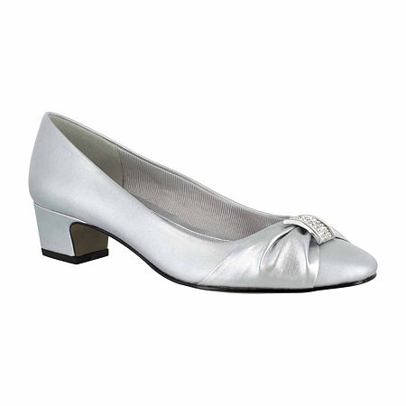 Easy Street Womens Eloise Pumps Block Heel, 6 Medium, Silver