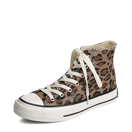 Yoins Brown Lace-up Leopard Pattern Canvas Boots