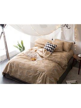 Simple Style Khaki Dolphin Cotton 4-Piece Bedding Sets/Duvet Cover