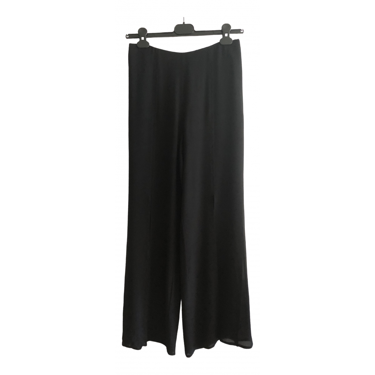 Non Signé / Unsigned \N Black Silk Trousers for Women 42 IT