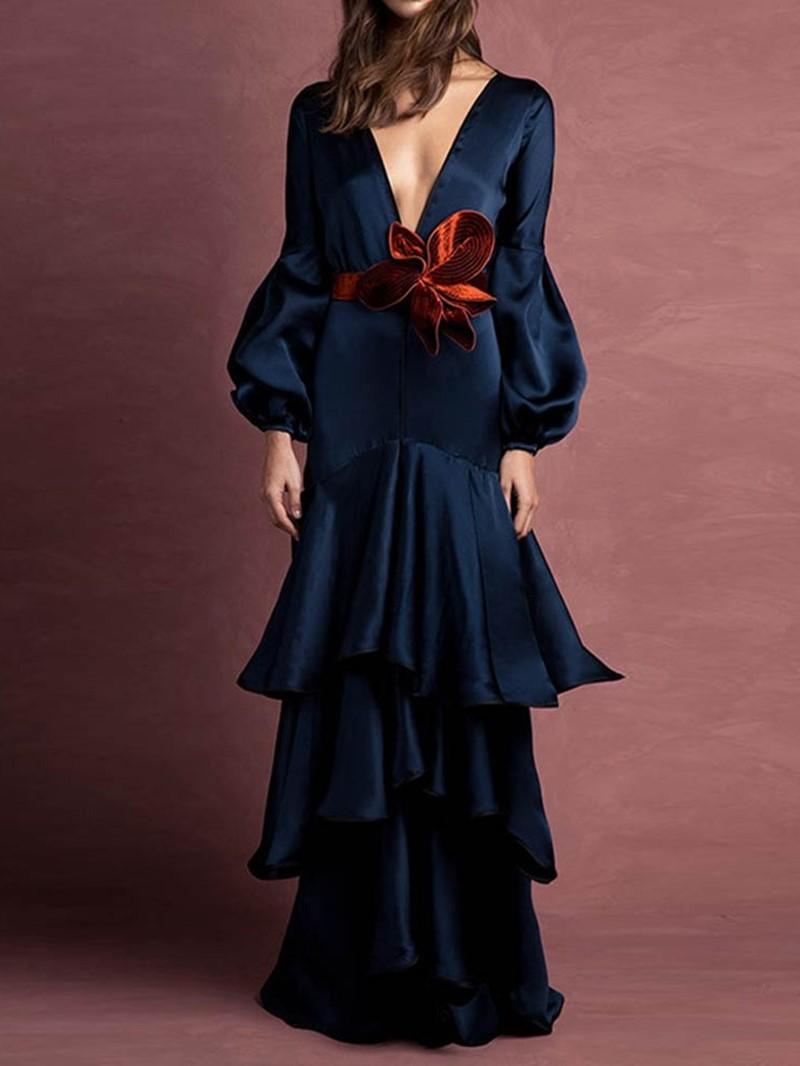 Ericdress Pleated V-Neck Long Sleeve Plain Mid Waist Layered Dress