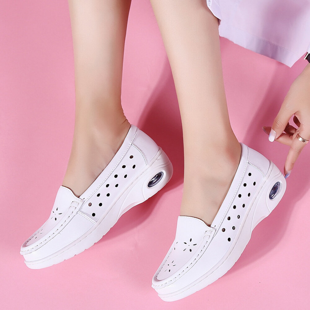 Women Breathable Hollow Soft Cushioned Non Slip White Shoes