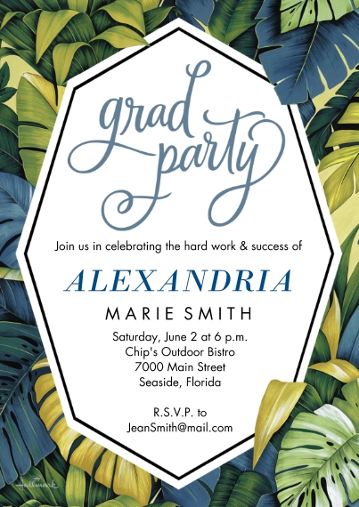 Graduation Invitations 5x7 Cards, Premium Cardstock 120lb with Elegant Corners, Card & Stationery -Tropical Leaves Grad Party