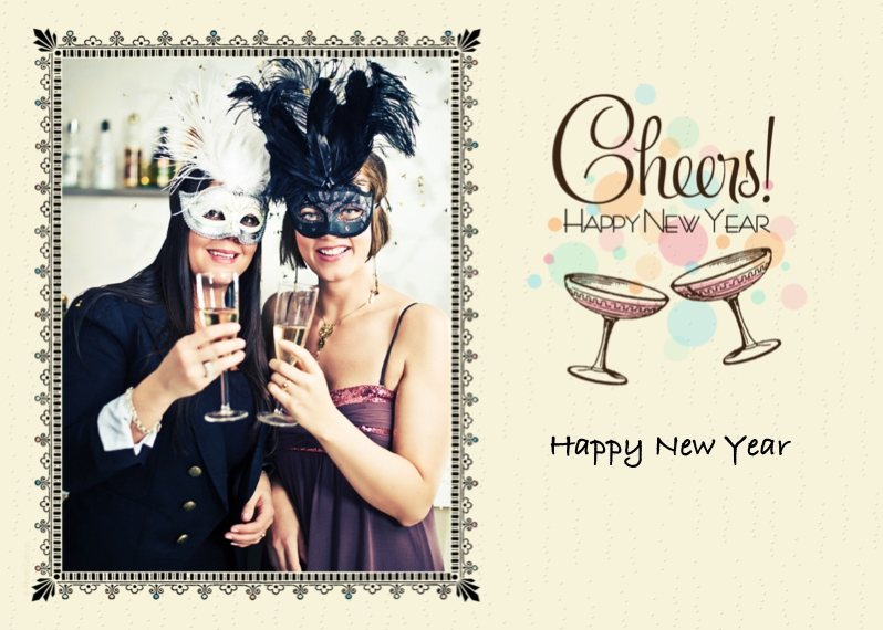New Year's 5x7 Cards, Premium Cardstock 120lb, Card & Stationery -Cheers!