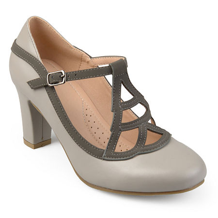 Journee Collection Womens Nile Pumps Block Heel, 7 Medium, Gray
