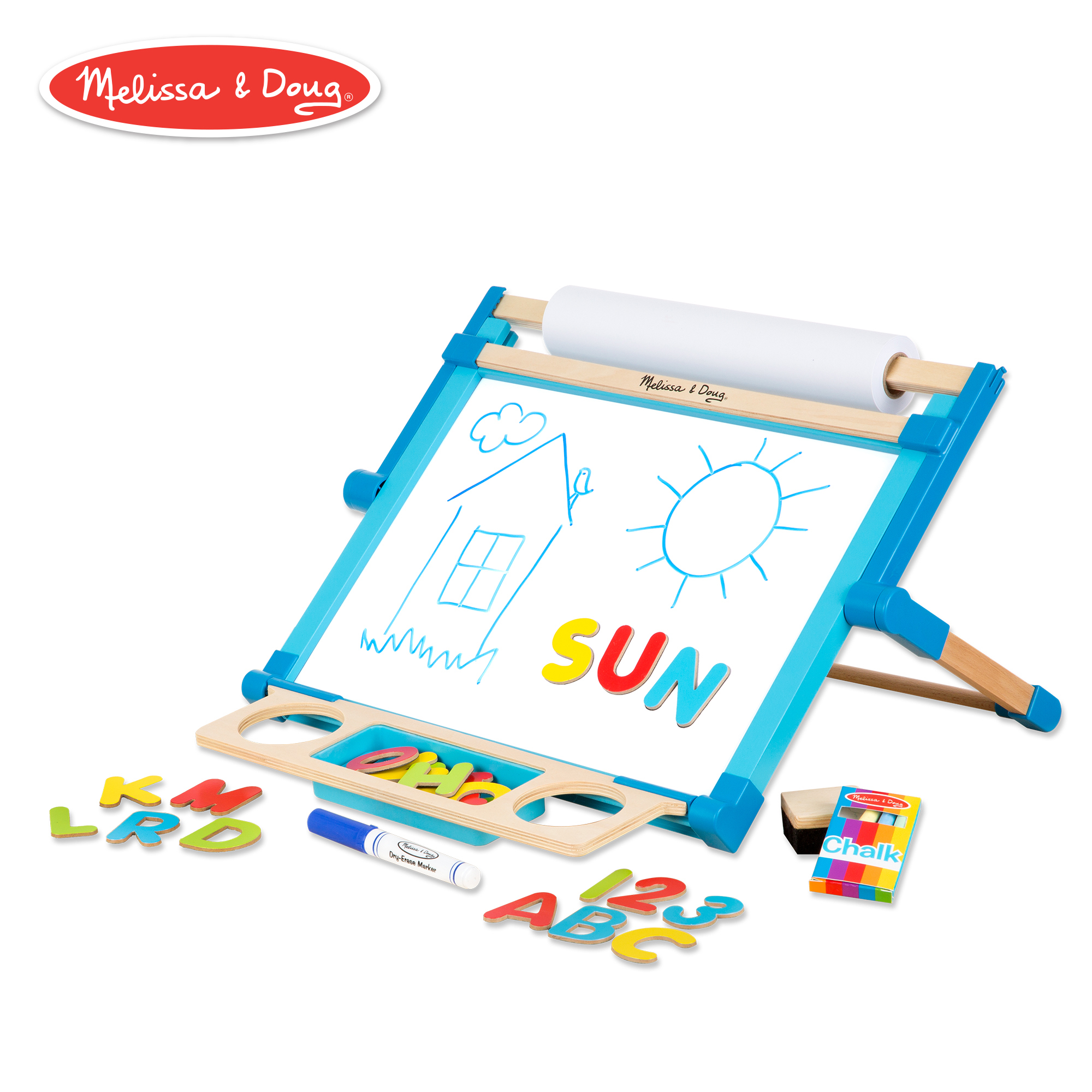 Double-Sided Magnetic Tabletop Art Easel - Dry-Erase Board and Chalkboard