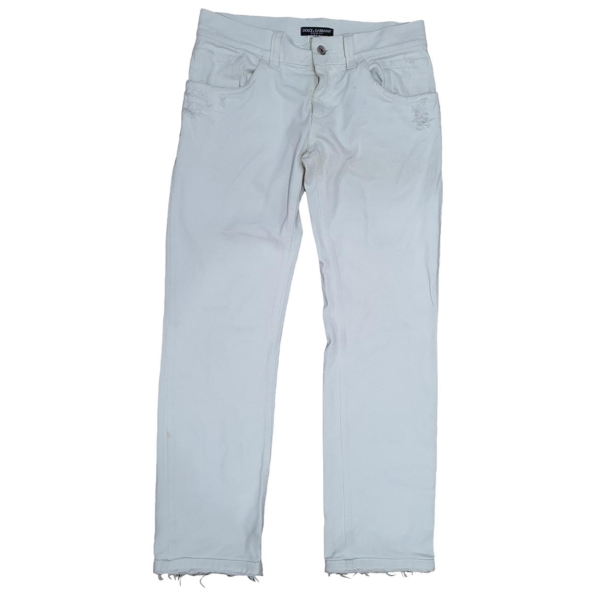 Dolce & Gabbana \N White Denim - Jeans Jeans for Women 44 FR