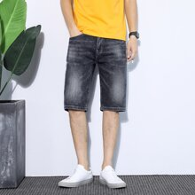 Men Patched Wash Denim Shorts