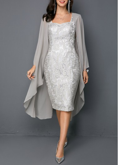 Women'S Light Grey Two Piece Cocktail Party Dress Solid Color Flowy Long Sleeve Sheath Midi Elegant Dress By Rosewe - XL