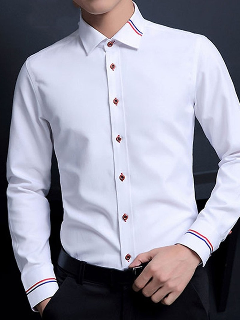Ericdress Casual Print Lapel Men's Slim Shirt