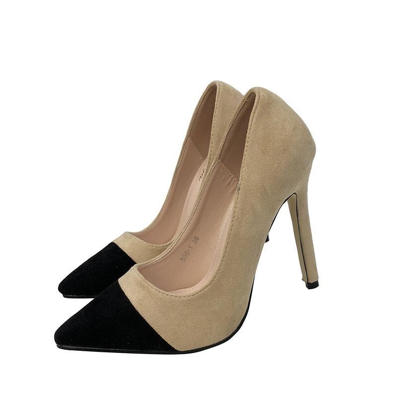 Ericdress Slip-On Pointed Toe Stiletto Heel Color Block Pumps