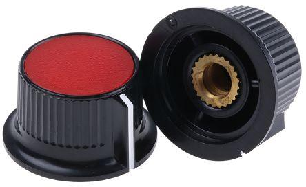RS PRO Potentiometer Knob, Grub Screw Type, 28mm Knob Diameter, Black, Red, 6mm Shaft (5)