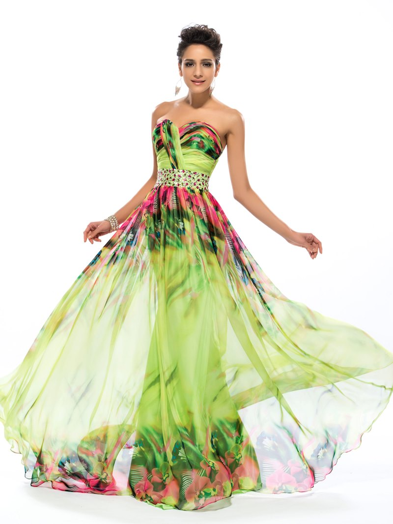 Ericdress Sweetheart A-Line Floral Printing Long Prom Dress